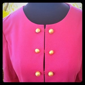 Fuschia blazer with gold buttons